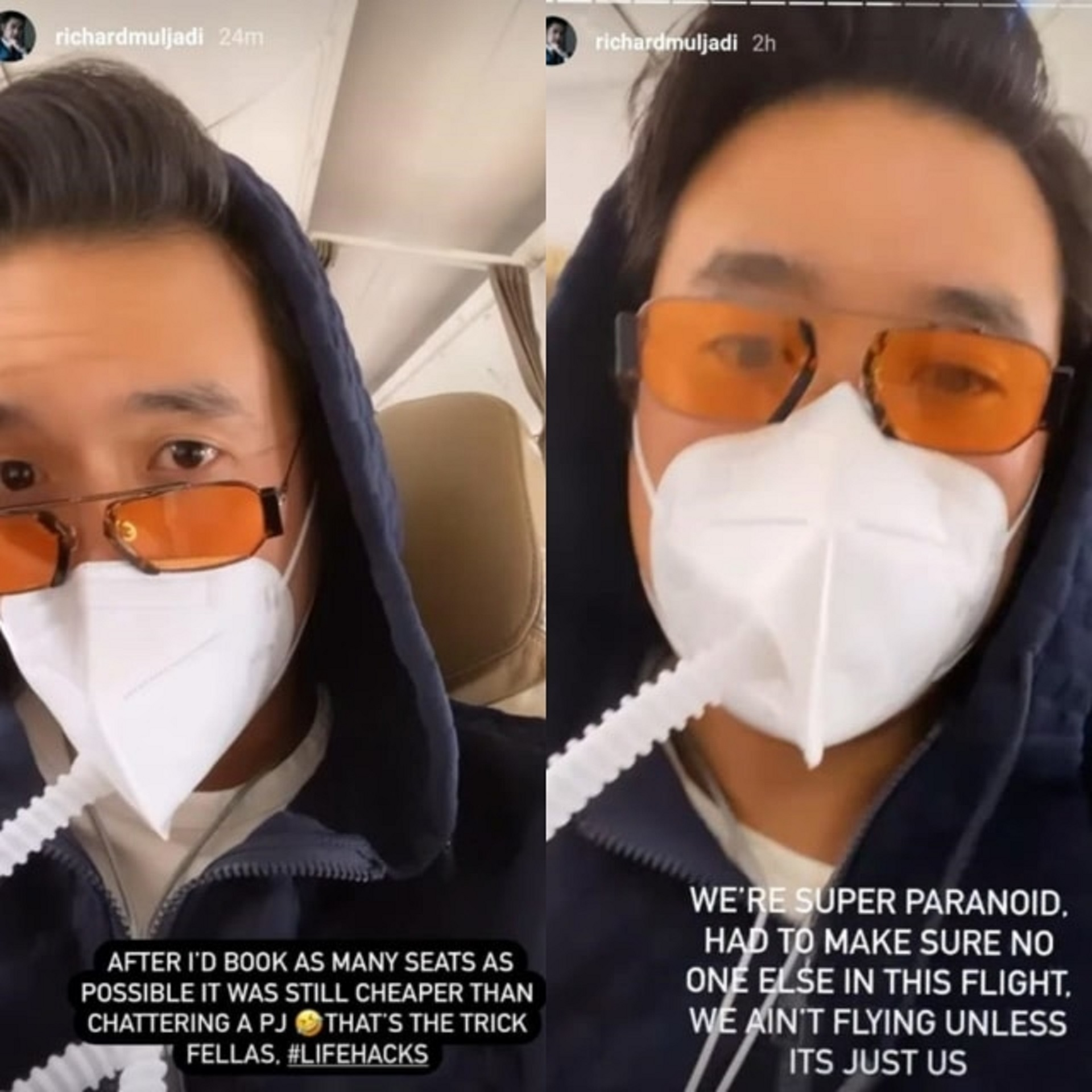 "Idiosyncratic socialite Richard Muljadi booked all seats on Jakarta-Bali flight because ""we ain't flying unless it's just us""."
